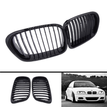 2 Pcs OEM Style Car Front Black Wide Kidney Grille Racing Grills Fit for BMW E39 5 Series 1997-2003 Gloss Black/ Matte