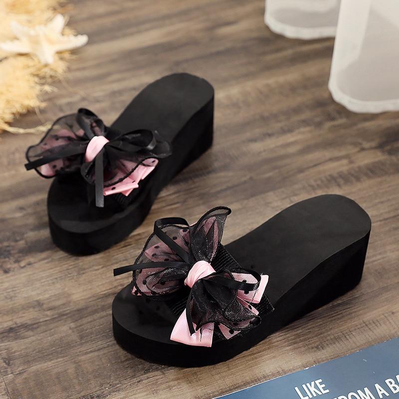 2019 Fashion Women Bow Summer Sandals Slipper Indoor Outdoor Flip-flops Beach Shoes Female Slipper Scarpe Women Pantoufle