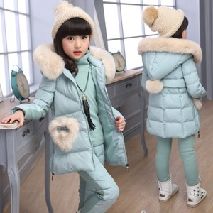 Image 5 - Winter 3 piece Set Girls Children Clothing Warm Parka Down Jacket Girl Clothes Childrens Coat Snow Wear Suit Winter Jacket Coat