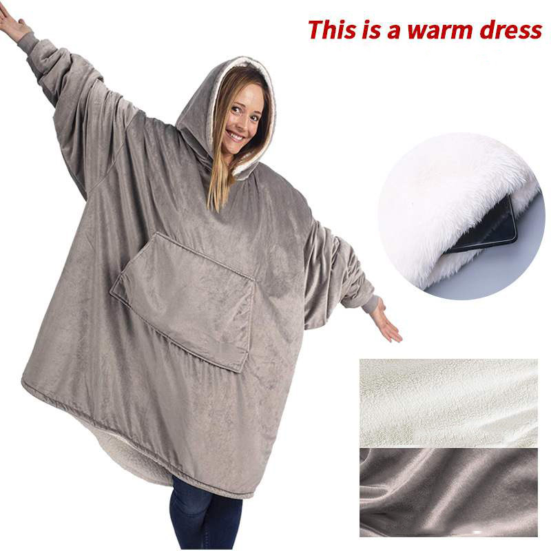 Winter Outdoor Hooded Pocket Blankets Warm Soft Hoodie Slant Robe Bathrobe Sweatshirt Pullover TV Fleece Blanket With Sleeves
