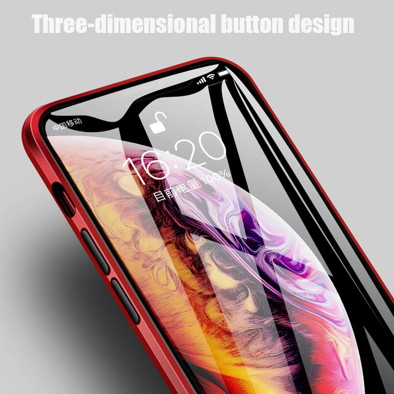 360 Magnetic Metal Phone Case For iphone 7 8 6 Plus Double Side Glass For iphone X XR XS MAX 6 6S plus 9H tempered glass Cover