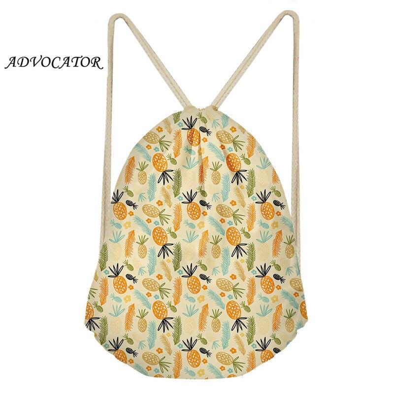 Kids Plain Drawstring Bags Schoolbags Cartoon Cactus And Pineapple Pattern Beach Shoulders Bags Men's Sports Bag Mochila Saco