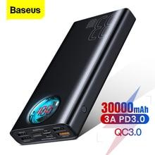 Baseus 30000 mah banco de potência usb c pd3.0 carga rápida rápida 3.0 30000 mah powerbank portátil carregador de bateria externa para xiaomi mi