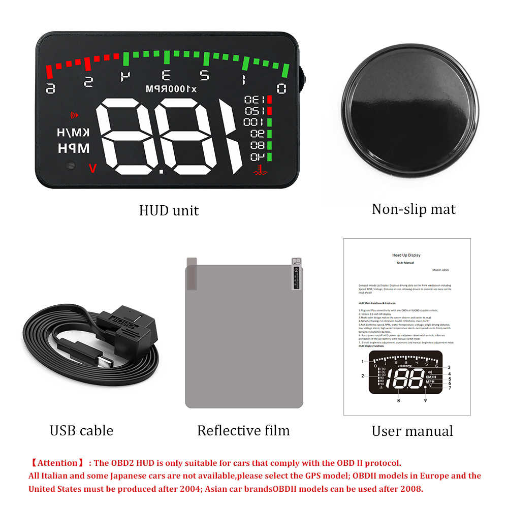 A100 3.5 A900 hudヘッドアップディスプレイ車スタイリングhud表示速度超過警告フロントガラスプロジェクター警報システムユニバーサル自動