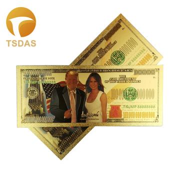 Pamiątkowe banknoty 10 sztuk partia 24K pozłacane banknoty milion dolarów kolekcja Donald Trump i pierwsza dama tanie i dobre opinie TSDAS Patriotyzmu Antique sztuczna fake banknotes souvenir banknotes 24k gold banknote gold foil banknote gold banknote set