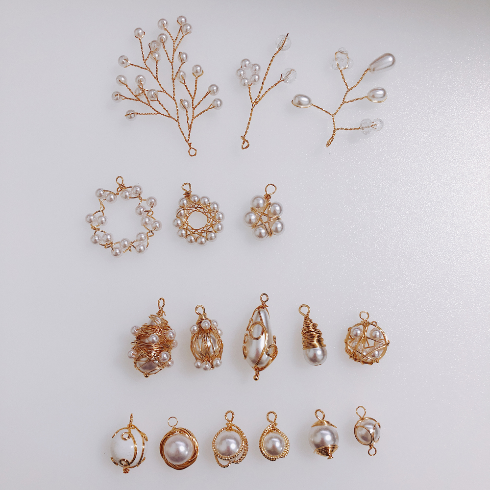 Wire Pearl Eardrop Accessories Metal Pendant Earring Components Necklace Charms Diy Making Material Jewelry Finding 2pcs