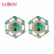 LUBOV Flower Opal Stone Stud Earrings Chic New Elegant Crystal Rhinestone For Women Trendy Jewelry