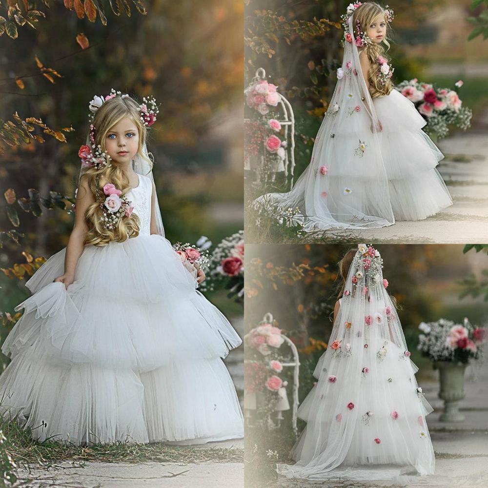 Princess Cake Flower Girls Dress Lovely White Sleeveles Zipper Backless Little Girld Birthday Dress Pretty Girls Communion Dress