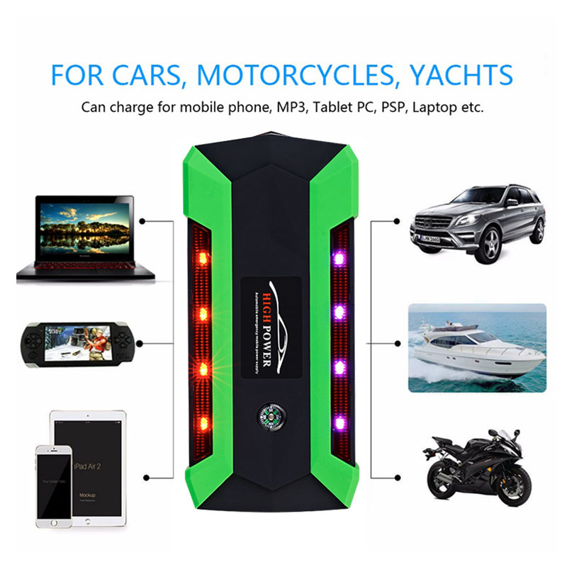 20000mAh Car Jump Starter 600A Peak Current EU Battery Power Pack 12V Green Light Strip Auto Charger Portable Starting Device