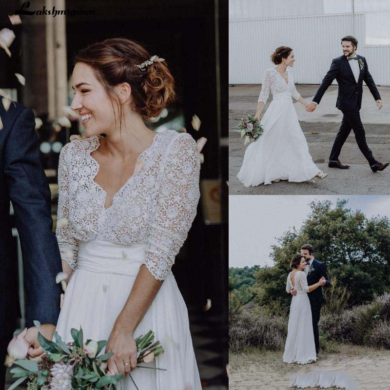 Lace Chiffon Country Weding Dresses A Line Sexy Backless Bohemian Beach Boho Bridal Gowns 3/4 Long Sleeves Bride Dress Plus Size