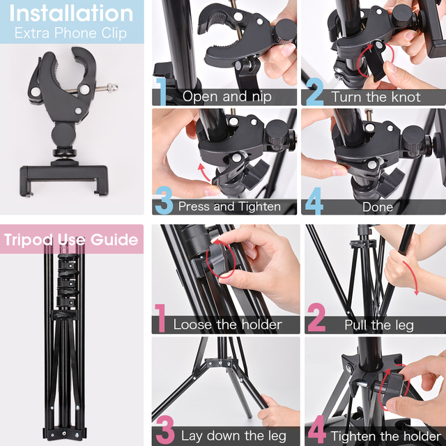 LED Ring Light Photography Lighting Selfie Lamp USB Dimmable With Tripod For Youtube Photo Studio Makeup Video Live 5