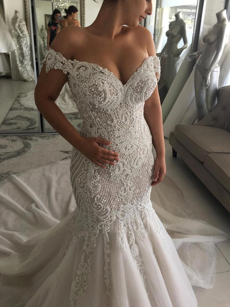 Robe De Mariee 2020 Luxury Mermaid Wedding Dresses Sexy Deep V Neck Cap Sleeve Pearls Lace Wedding Gowns Vestido De Noiva