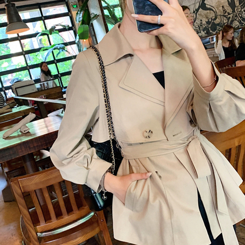 New Autumn Fashion Casual Women Short trench coat lace up Double Breasted Jacket Outerwear High Quality 2019 Karachi