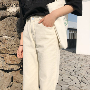 Image 4 - Capris Women Casual jednolity, na zamek proste luźne spodnie damskie wszystkie mecze modne proste spodnie z wysokim stanem studenci w stylu koreańskim
