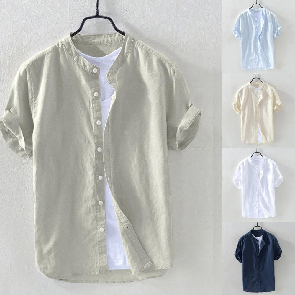 Shirt men's summer short-sleeved loose cotton and linen solid color shirt daily retro 2020