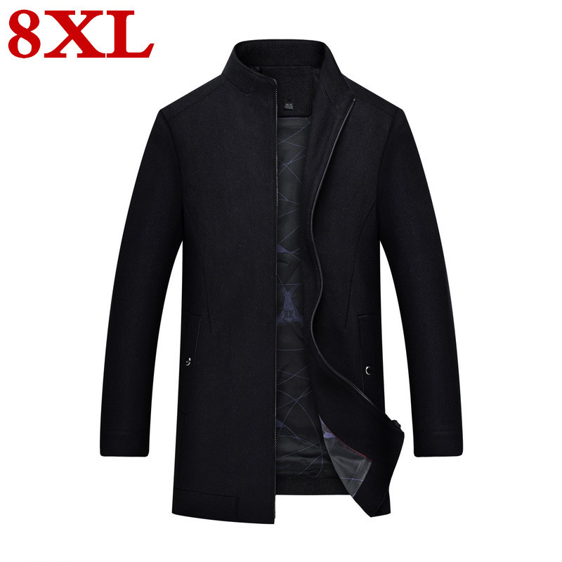 New Large Plus Size 8XL 7XL Coat Men Autumn And Winter Fashion Mens Overcoat Wool Quality Warm Trench  Male Woolen Coat