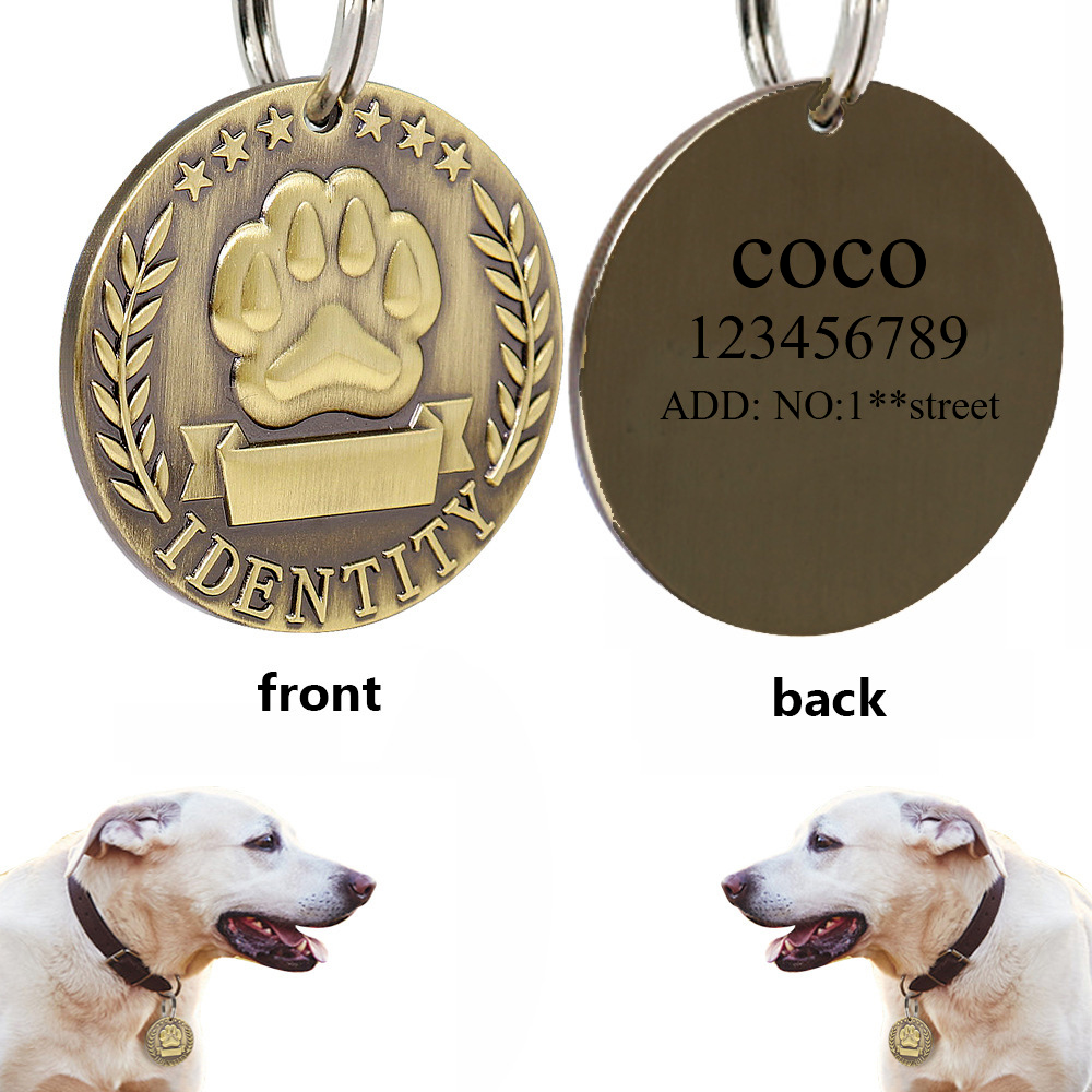 Custom Engraved Dog ID Tag Stainless Steel Dogs Name Tags Personalized Anti lost Nameplate Pet Accessories Free Engraving