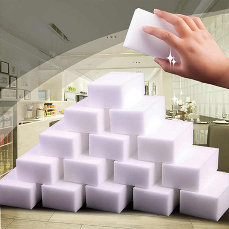 100 Pcs Magic Sponge Cleaner Eraser Melamine Sponge Cleaner Eraser 100*62*20 Mm Abu-abu Esponja