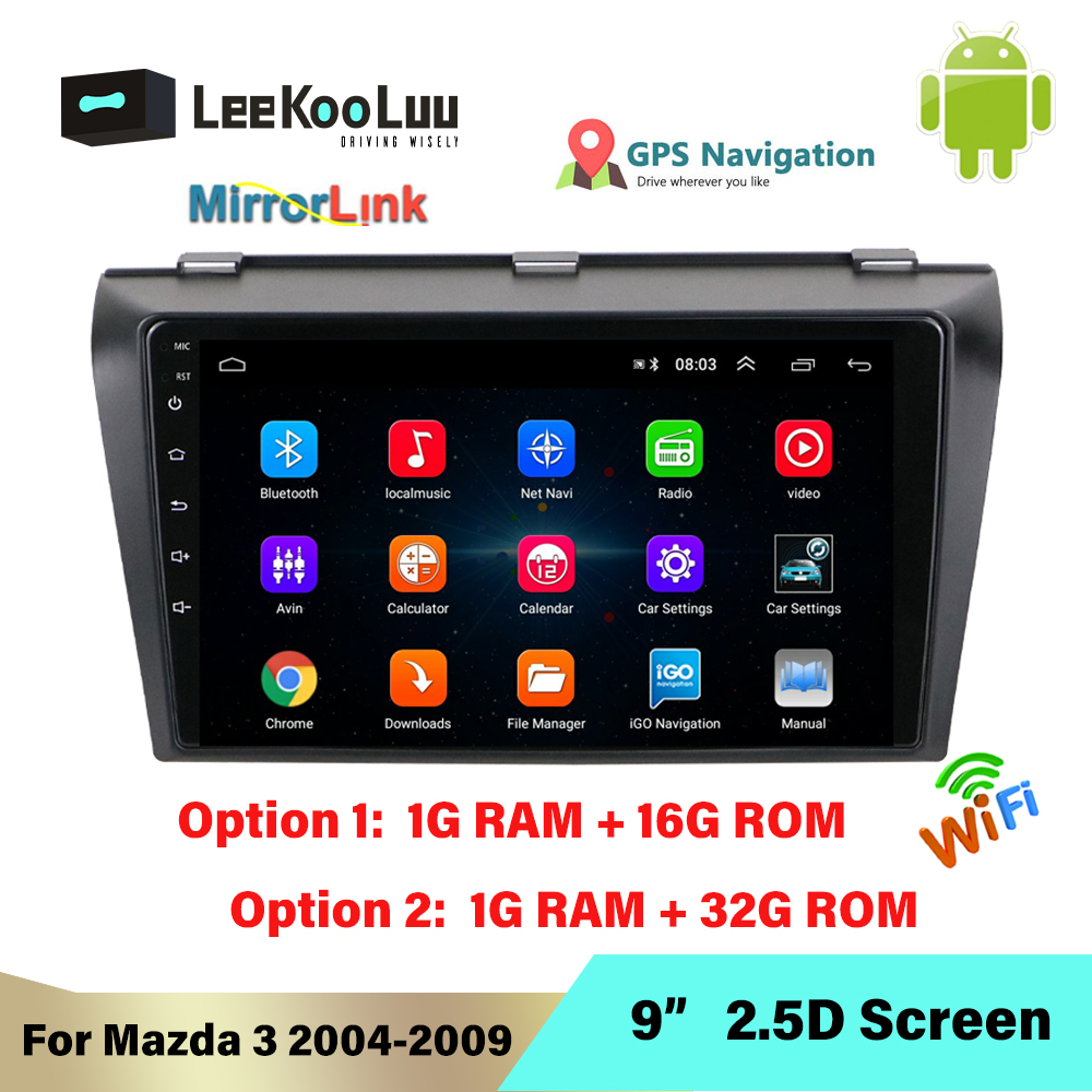 LeeKooLuu 2 Din Android 8.1 Car <font><b>Radio</b></font> 9 Inch GPS Navigation Wifi Mirror Link 2Din Car Multimedia Player For <font><b>Mazda</b></font> <font><b>3</b></font> 2004 - 2009 image