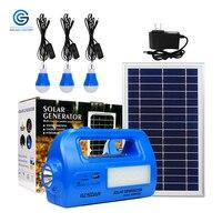 GCSOAR Solar Lighting System Portable Generator Kit with Solar Panel LED Bulb USB output Port Flashlights Emergency Backup Power