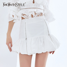 Bud-Skirt Clothing TWOTWINSTYLE Patchwork White High-Waist Mini Fashion Women for Zipper