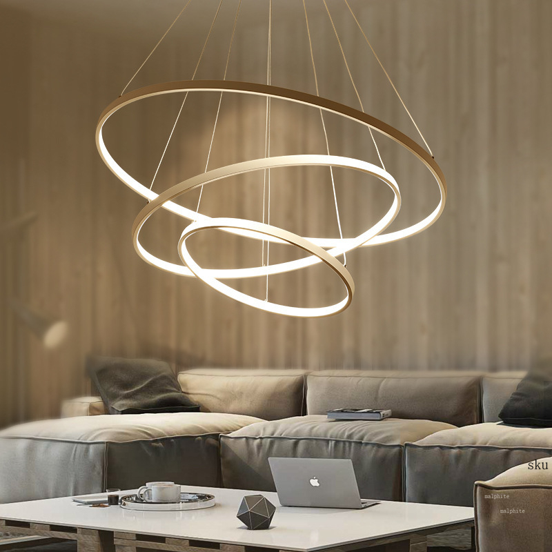 Modern Hanging LED Ring Pendant Lights For Living Room Dining Room Kitchen Fixtures Pendant Lamp Circle Aluminum Body Luminaire