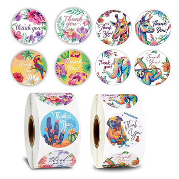500pcs/roll Creative Flowers Thank You Round Stationery Stickers Package Seal Labels DIY Grift Bag /box Decoration Stickers jwhcj creative arts font thank you