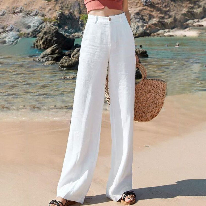 Summer Korea Fashion Women Pants Plus Size High Waist Thin Cotton Linen Wide Leg Pants All-matched Casual Straight Trousers D162