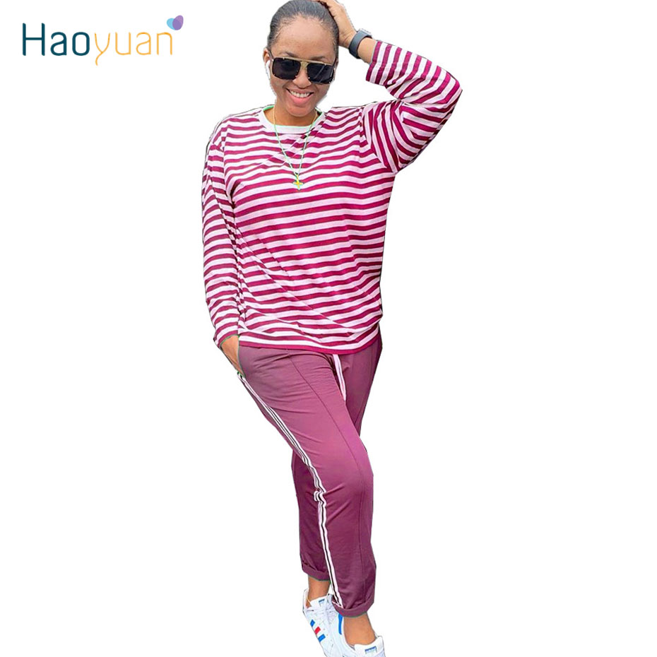HAOYUAN Two Piece Set Tracksuit Women Fall Clothes Long Sleeve Striped Top And Pant Sweat Suits 2 Piece Outfits Matching Sets