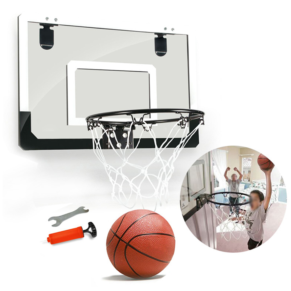 Transparent Basketball Hoop Set Punch Free Sports Indoor Office With Ball Wall Hanging Mini Steel Rim Shatterproof Backboard Toy