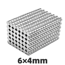 AGMA 50pcs N35 6x4mm Mini Small Neodymium Magnet Strong Powerful Force Round Rare Earth Magnets For Multi-Use Disc 6*4mm zion 10 20 50pcs dia 5x2mm small magnets n35 rare earth super mini round neodymium magnet disc 5 2mm permanent powerful magnetic