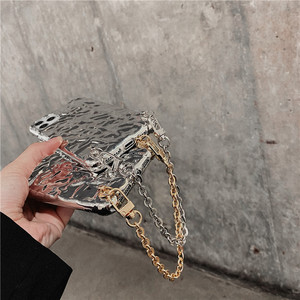Image 4 - Luxe Plated Zilver Tin Folie Metalen Ketting Telefoon Case Voor Iphone 12 Pro Max 11 Pro Max Xr Xs SE2020 7 8 Plus Pols Armband Cover