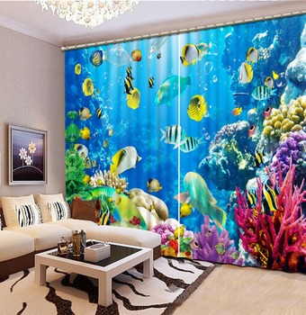 Blackout/Sheer 3D Window Curtains for Living Room Bedroom Curtains Drapes 3D  Marine Sea Coral Fish