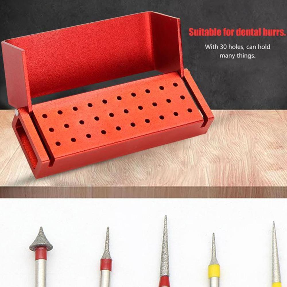 30 Holes Aluminium Disinfection Box Case Dental Bur Burs Block Holder Autoclavable Dental Disinfection Box Dentist Instrument