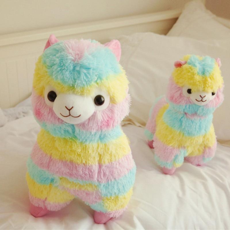 20cm Soft Cotton Rainbow Alpaca Stuffed Plush Toy Doll Rainbow Horse Lama Animals Toys For Children Birthday Christmas Gifts