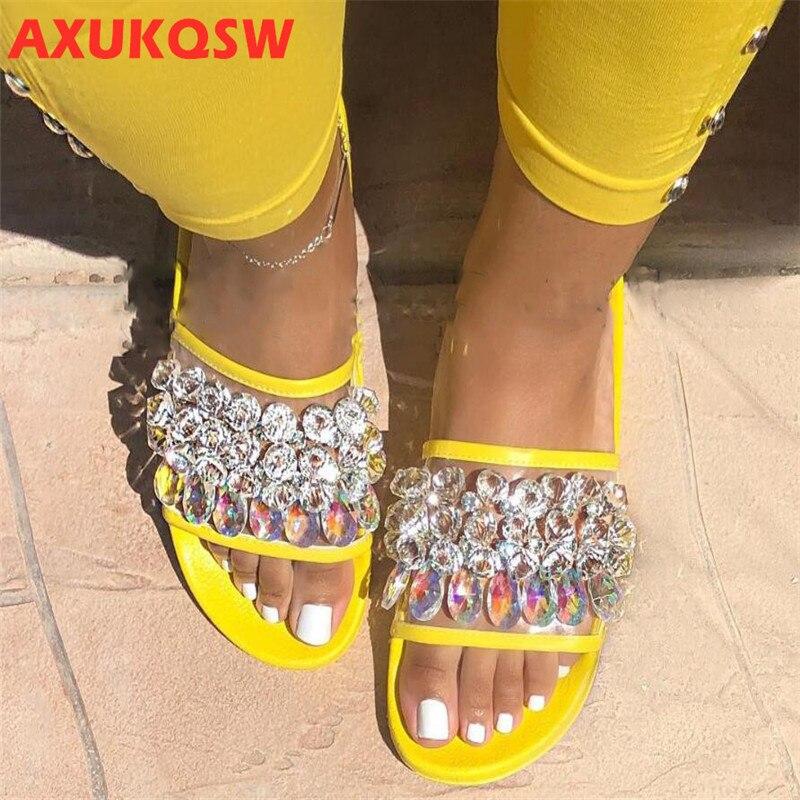 Crystal Flip Flops Shoe Flat Casual Ladies Jelly Shoes Rhinestone Transparent Slides Open Toe Beach Shoe Summer Female Footwear
