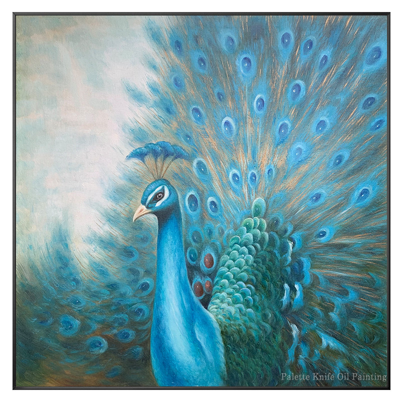 Originele pauw decoratie schilderen handgeschilderde canvas olieverf dier blue wall art Home office decor cuadros abstractos - 6