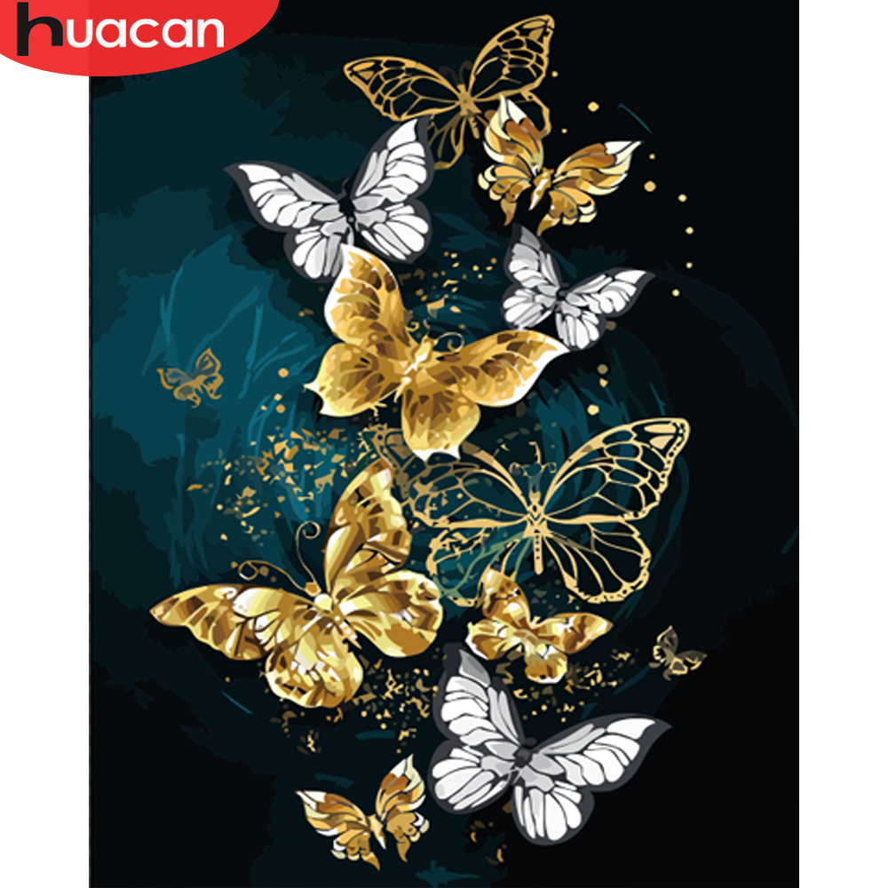 HUACAN Painting By Numbers Butterfly Animals Modern Wall Art Canvas Painting Acrylic Paint By Numbers For Home Decor Frameless