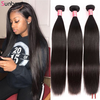 Sunber 28 30  Peruvian Bone Straight Hair Bundles 3/4 PCS Remy Natural Black Color Double Weft 8- Inch - discount item  57% OFF Human Hair (For Black)