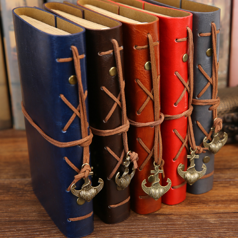 A6/B5/A5 Spiral Notebook Diary Notepad Vintage Pirate Anchors PU Leather Note Book Replaceable Stationery Gift Traveler Journal