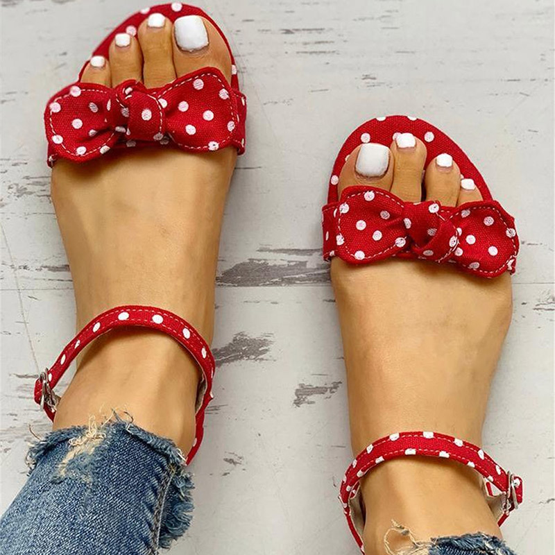 2020 Woman Sandals Ladies Polka Dot Open Toe Casual Butterfly Knot Buckle Flat Shoes Woman Fashion Comfort Sandals Female  New