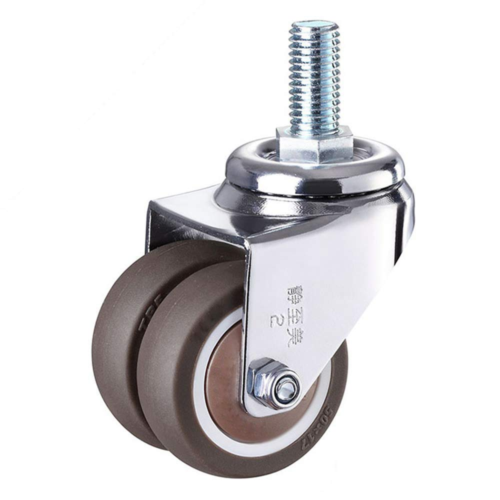 4 pçs/set 2 heavy rodízio de borracha resistente haste giratória rodas m12 x 25mm travamento rodízios rodízios substituição para móveis-2