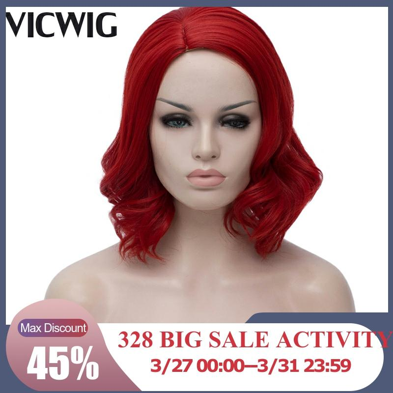 VICWIG Synthetic Red Wigs For Women Short Curly Purple Cosplay Wig White Grey Blonde