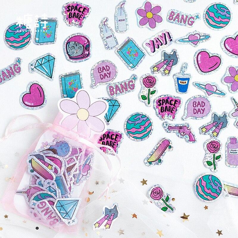 100 Pcs/lot Cartoon Animal Cat Laser Paper Sticker Kawaii Decoration DIY Album Diary Scrapbooking Label Stickers