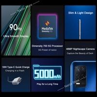 realme Narzo 30 5G RMX3242 Cellphone [Global Version] 4GB 128GB Dimensity 700 5G 6.5'' 90Hz FHD+ Screen 48MP AI Triple Cameras 2