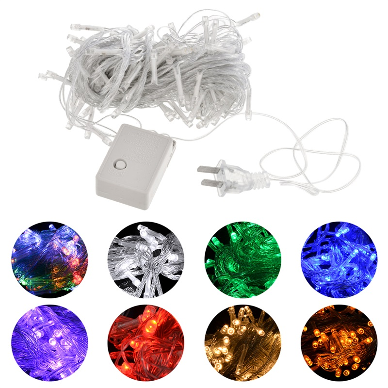 Led string light <font><b>10m</b></font> <font><b>100led</b></font> <font><b>220V</b></font> EU colorful holiday led lighting waterproof outdoor decoration light christmas light image