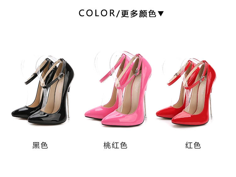 16 cm Heels Extreme Ladies Shoes Pumps PU Leather Big Size 46 Model Show Work Stilleto Shoe 2020 New Elegant Women Shoes Fashion