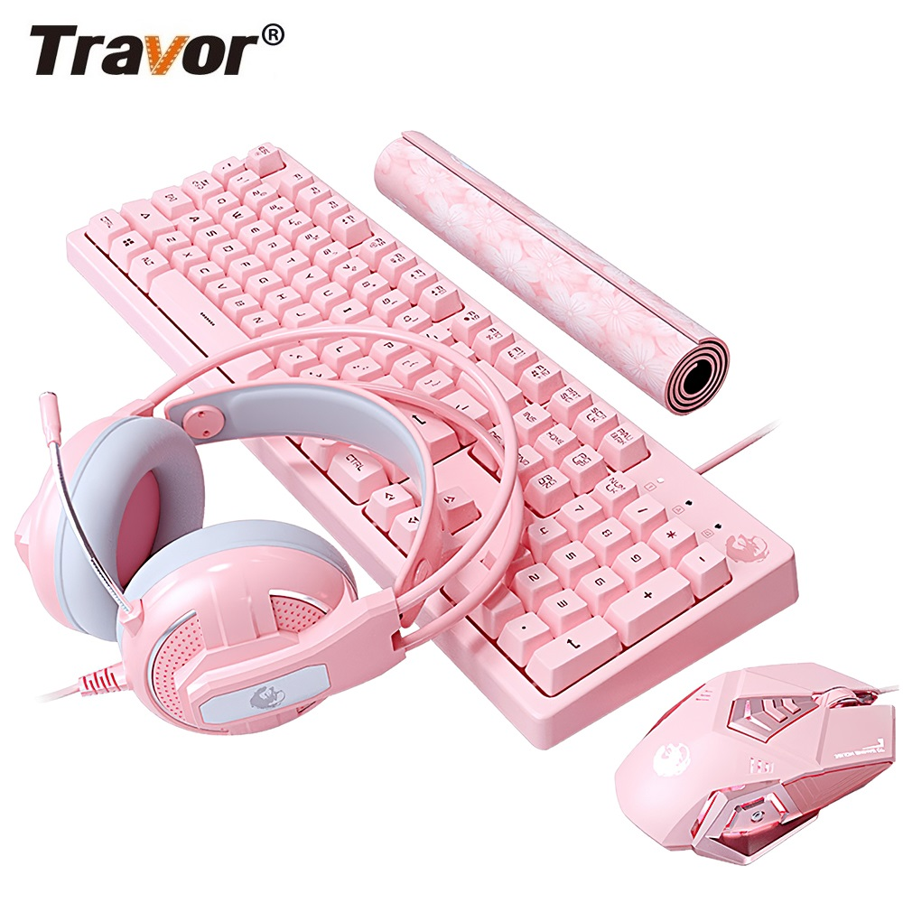 Travor LED Backlit Gaming Keyboard and Mouse Combo Wired USB Keyboard 4800DPI Notebook Laptop For Office Home