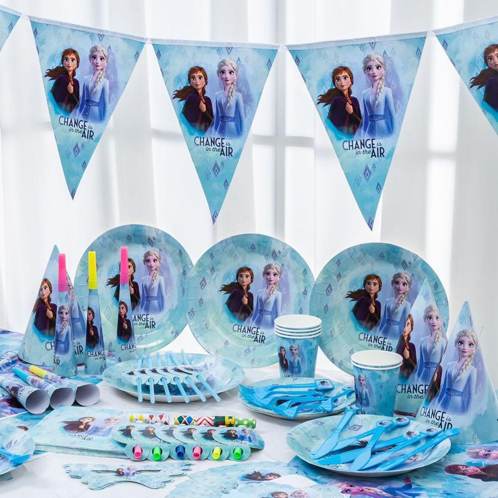 Frozen elsa anna princesa rainha da neve tema feliz aniversário decoração da festa de aniversário da criança suprimentos de festa de aniversário decoração utensílios de mesa