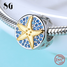 SG starfish charm with yellow Enamel charm bead 925 sterling silver Blue zircon charms for DIY charms Bracelet women gifts new collection good gifts noble blue silver charms series 925 real silver charms bracelet for girlfriend